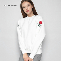 Women Casual Embroidered Rose Sweatshirt Long Sleeve Pullovers
