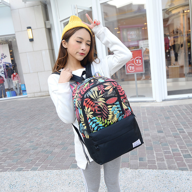 Hot Fresh Fashion Dot Printing Students School Bags Women Backpacks High Quality Double Shoulder Canvas Backpack