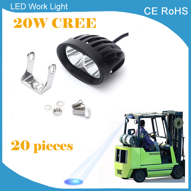 Alibaba aliexpress 20 pieces 12v 24v 20w led spot forklift truck warning lamp 1600lm blue red yellow safety mozeypictures Gallery