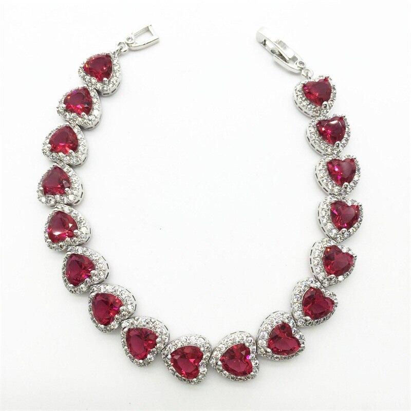 Teemi Trendy Heart Shape Rose Color Option AAA Heart Zircon Stone Bracelets Bangles for Women White gold color Jewelry