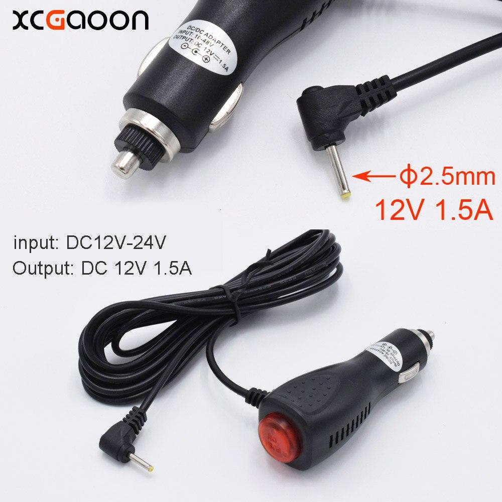 XCGaoon 2.5mm Port Chargeur De Voiture Adaptateur pour DVR Caméra/GPS/voiture Radar entrée 12 V-24 V Ouput 12 V 1.5A, câble Longueur 3.5 mètre