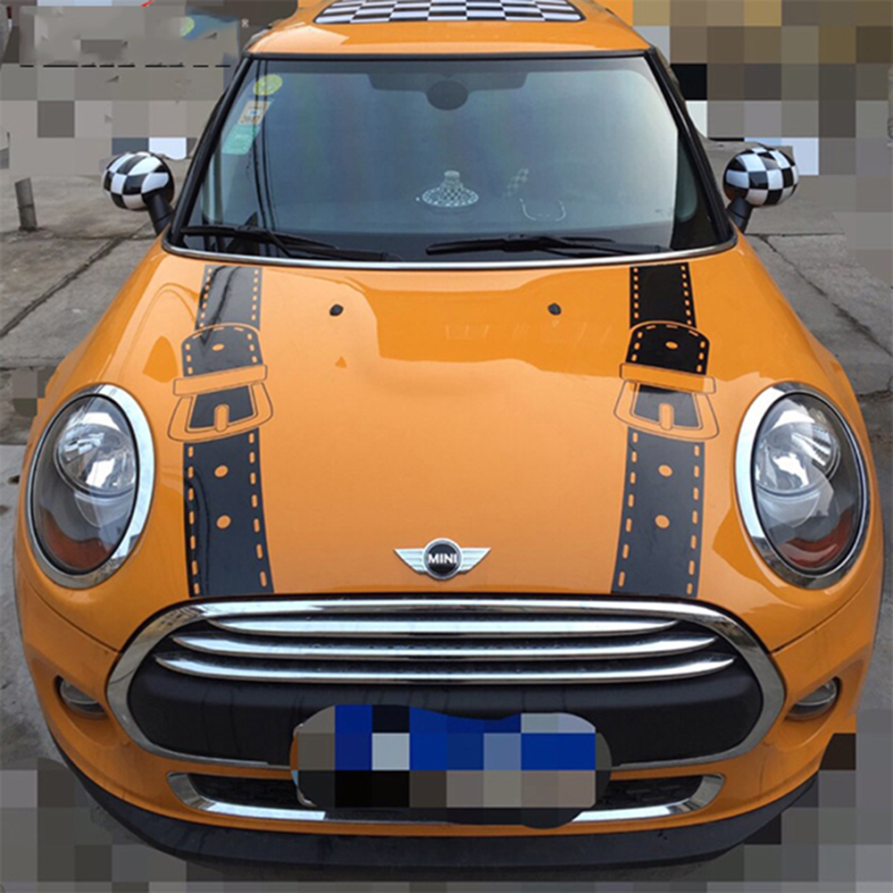 Hood bonnet straps car stickers and decals car styling for mini cooper one s jcw countryman f56 f55 f60 r56 r60 r61 accessories