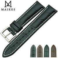 MAIKES 18 22mm Good Quality Genuine Leather Watch Band Strap Bracelet Belt Black With Stainless Steel