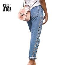 youaxon catonATOZ 2093 High Waist Eyelets Boyfriend Denim Pants Female