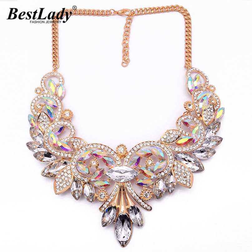 Best lady New Arrival Flower Gem Crystal Luxury Vintage Accessories Necklaces pendants Maxi Statement font b