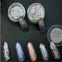 TCWB221 New Arriving The World Popular Galaxy Holo Silver Flakes Big Size Best Effect For Nail