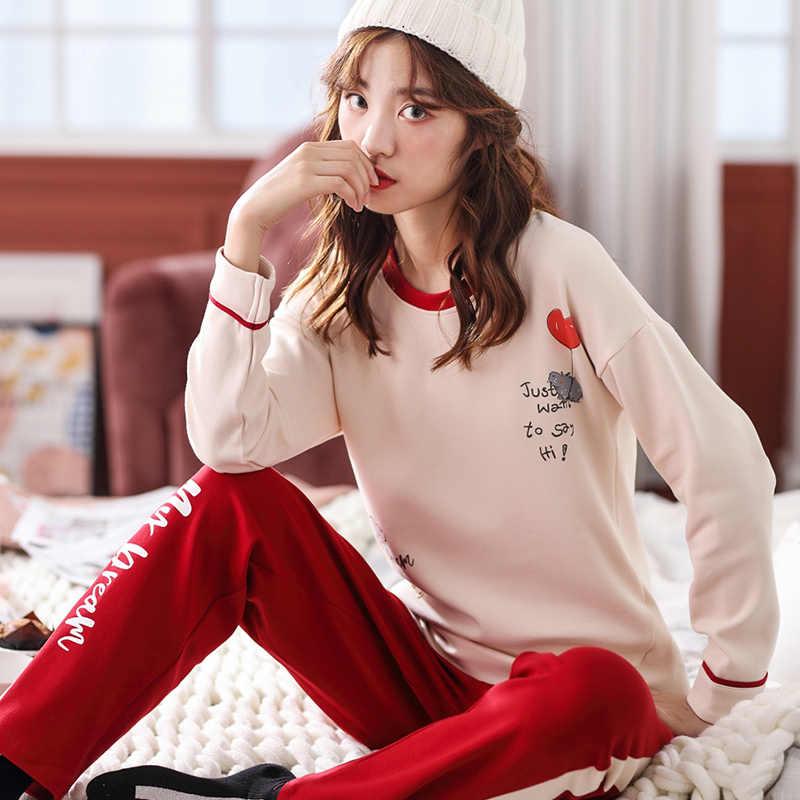 ... Большие размеры M-XXL Для женщин пижамные комплекты 100% хлопок ночное  Демисезонный пижама с ... c9f6484b2a990