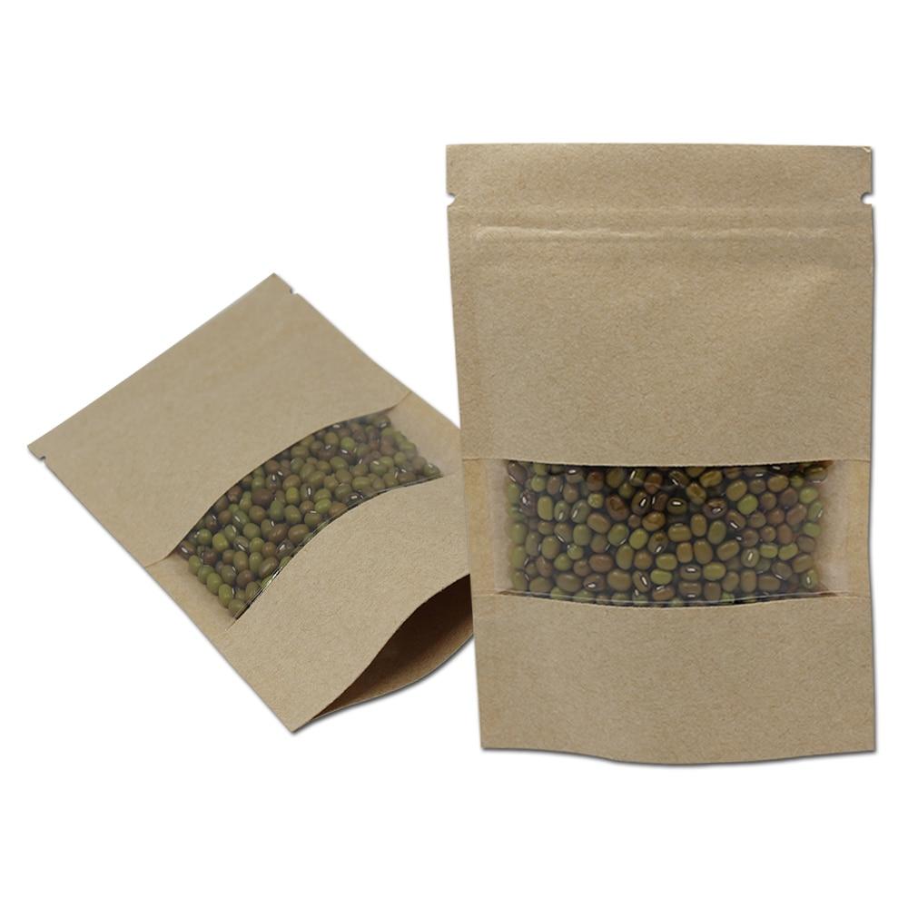 Doypack Ziplock Brun Kraftpappersväskor Paket Paket Detaljhandel för torkad mat Cooffe Nut Stand Up Window Återförslutningsbart