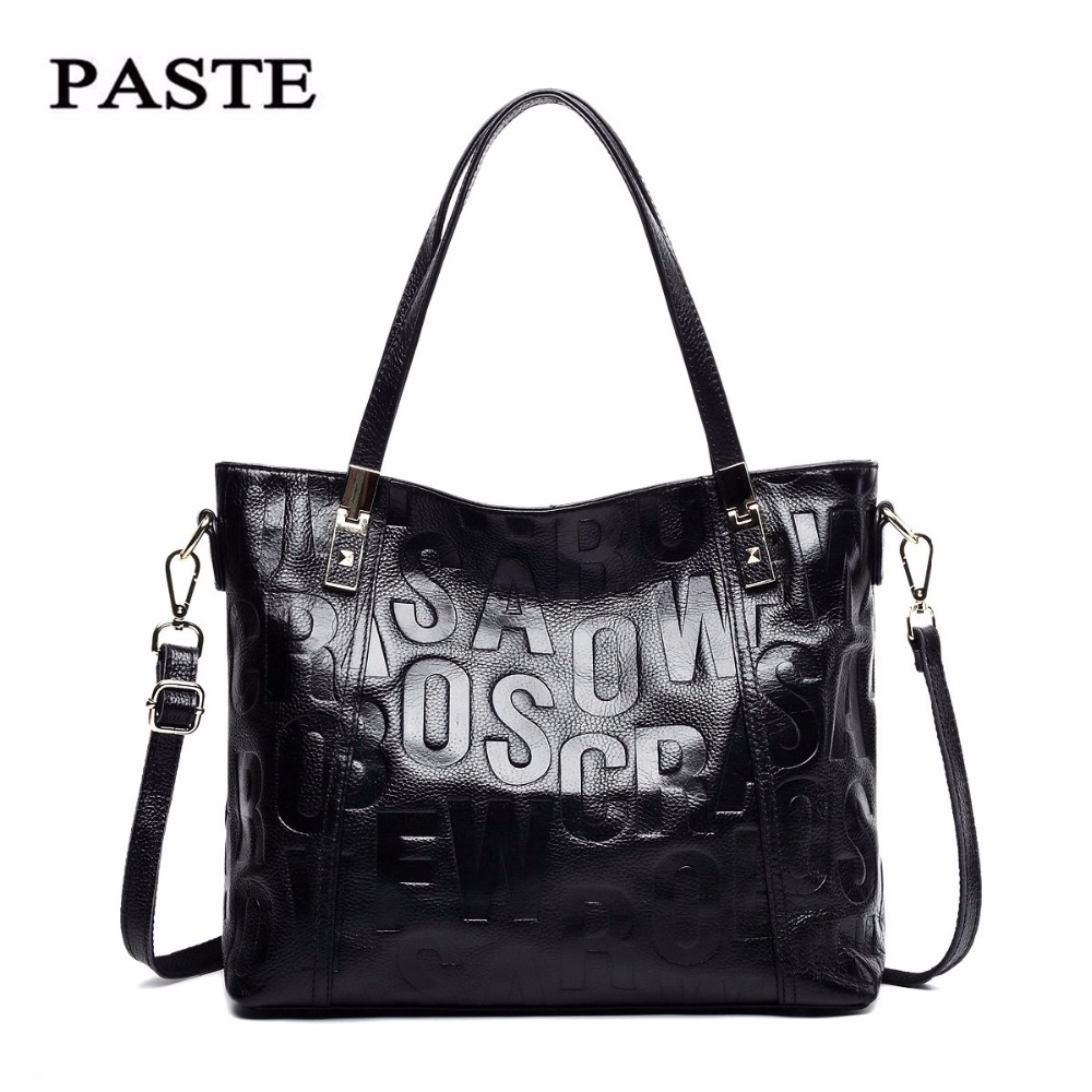 ФОТО PASTE Famous Brand 2017 New Fashion Style Women Handbags/Top Genuine Cow Leather Shoulder bag/Soft Real Natural Cowskin Tote Bag