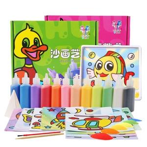12 pièces/boîte bricolage sable peinture artisanat ensemble créatif Puzzle enfants main sur dessin jouets enfants fille garçons noël étude cadeau jouet
