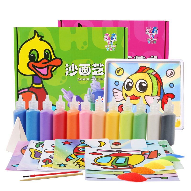 12Pcs/box DIY Sand Painting Crafts Set Creative Puzzle Children Hand-on Drawing Toys Kids Girl Boys Xmas Leaning Study Gift Toy 5 10pcs sand painting handmade colored cartoon drawing toys sand art kids coloring diy crafts learning sand art painting cards