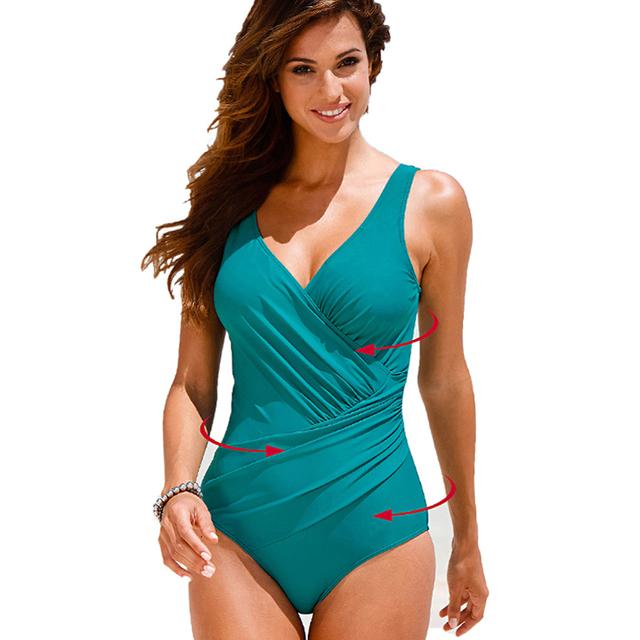 a7358b2babdf0 Plus Size Swimwear Women One Piece Swimsuit Print Solid Swimwear Large Size  Vintage Retro Swimsuit Bathing Suits Black