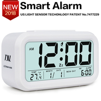 TXL LCD Digital Alarm Clock Snooze Electronic Travel Clock Light Sensor Desk Clock TEMP Date Calendar