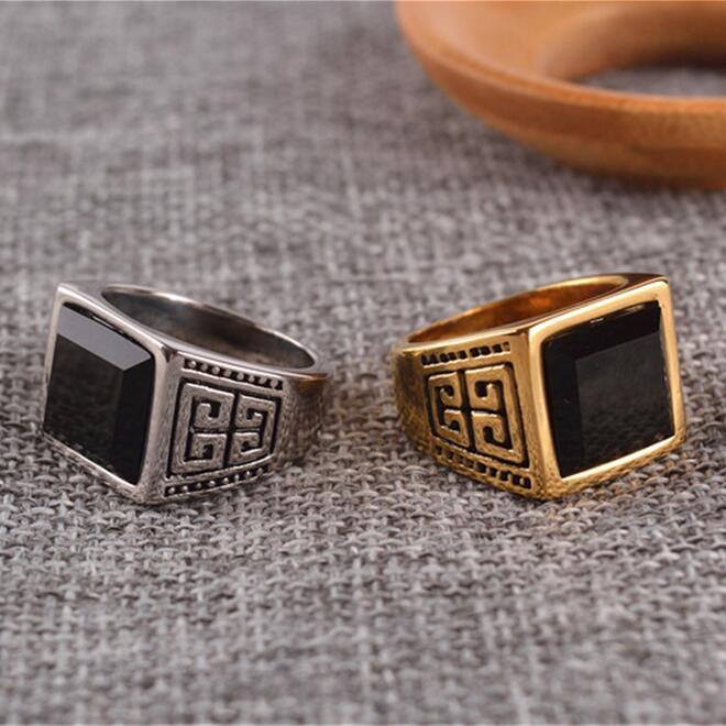 Vintage Thick Band Ring Men Set Square Black yx Stone Gold