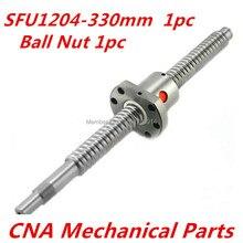 Piezas de CNC SFU1204 330mm juego de tornillos de bola 1 pc RM1204 L 330mm + 1 pc SFU1204 tornillo de bola Anti espalda BallNut con el extremo mecanizado