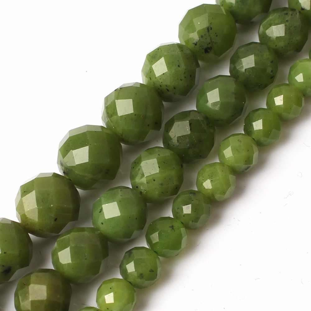 ธรรมชาติสีเขียว Faceted แคนาดา Jades อัญมณีหินกลมกลมลูกปัดสำหรับเครื่องประดับ Diy สร้อยข้อมือสร้อยคอ 15 ''6 มิลลิเมตร 8 มิลลิเมตร 10 มิลลิเมตร