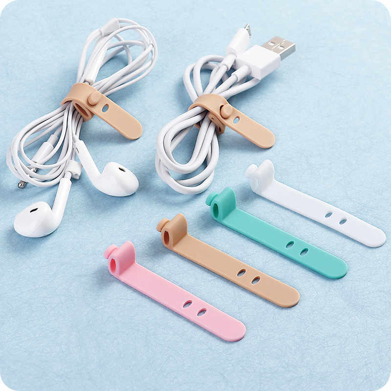 4PCS Silicone Data Wire Cable Organizer Tie Phones Winder Cable Finishing Buckle