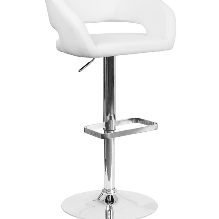 Flash Furniture Contemporary White Vinyl Upholstery Adjustable Height Swivel Seat Barstool with Chrome Base