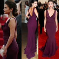 Purple v-cuello Vestidos largos Celebrity Selena Gomez Red Carpet Dress partido del vestido de noche con tren Vestidos de Famosos