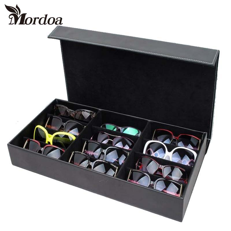 Mordoa High Quality PU Leather Glasses Sunglasses Display Box/Rack Case Jewelry Storage Organizer Holder with 12 Grids for Gift