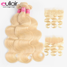 Brazilian Body Wave #613 Hair Bundles with Frontal 3Pcs Remy Human Hair Weaves Blonde Bundles with Frontal 4*13 Lace Closure(China)