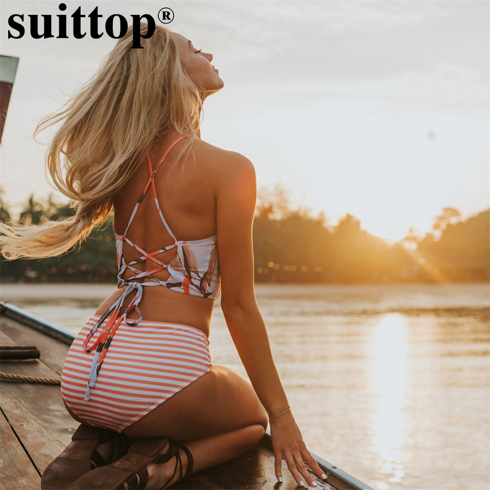 suittop High Neck Strappy Cross Swimwear Retro Print Floral Bikini Set High Waist Women Swimsuits Stripe Beach Wear Bathing Suit bohemian high waist floral print skirt for women