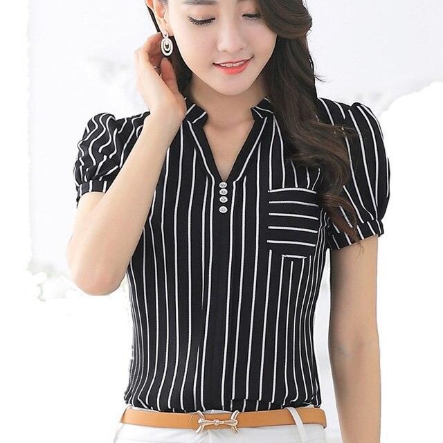 b3a7bacad42833 Women's shirts OL Style 2016 Short V-neck White Black Striped Blouse Button  Design Sale of Women's Clothing Big Sizes Blousas