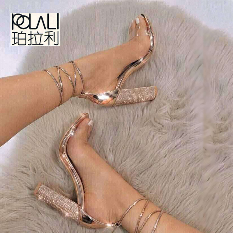 Heeled Sandals Shoes Pumps Ankle-Strap Rhinestone Women Super 014c1038-4 Lady POLALI
