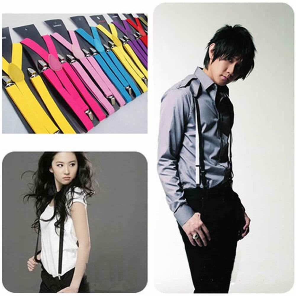 New Fashion Plain Color  Adjustable Clip-on Y-back Suspenders
