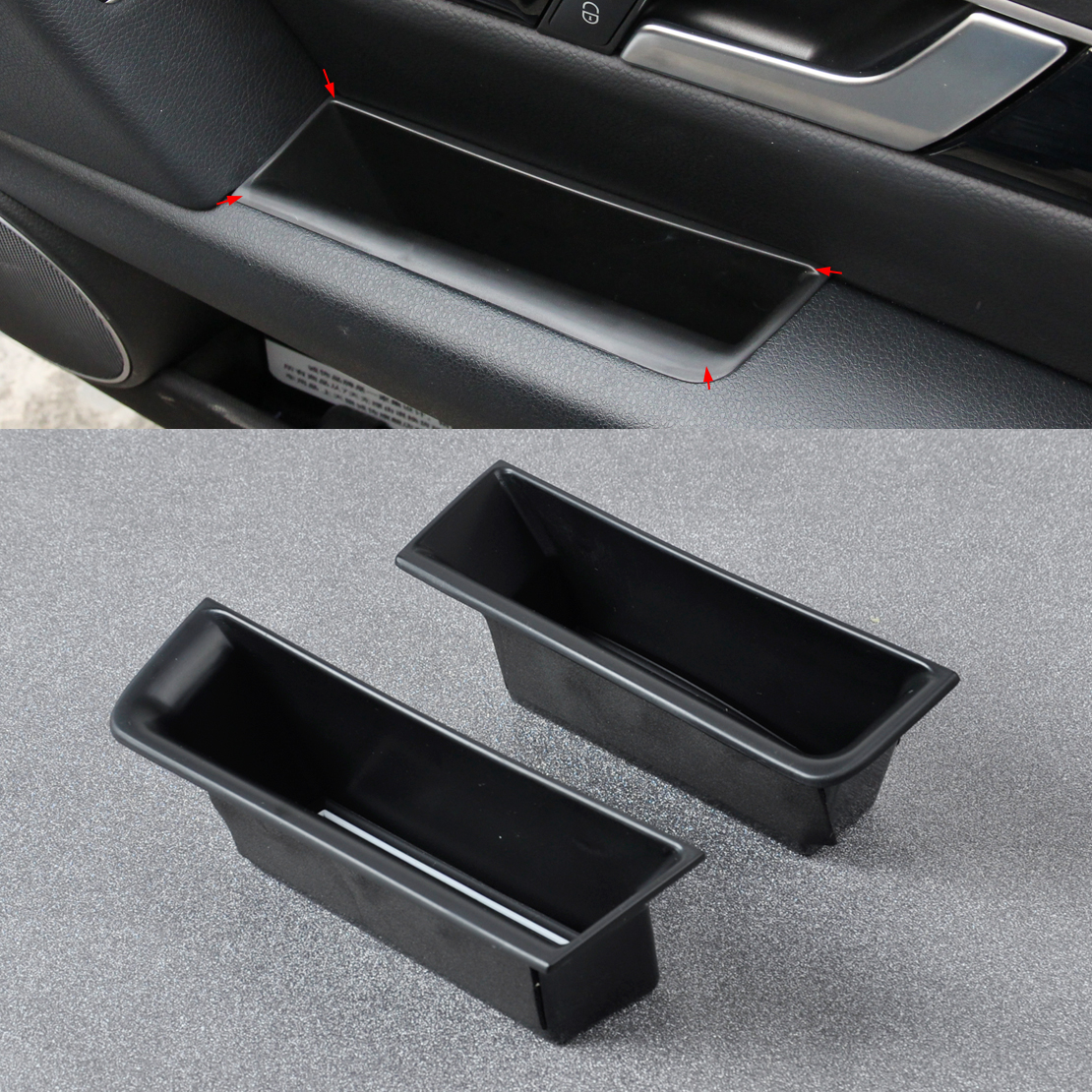 DWCX 2Pcs Car Rear Door Armrest Storage Box for <font><b>Mercedes</b></font>-Benz GLK Class GLK300 GLK350 GLK25 X204 2009 2010 2011 2012 2013 2014 image