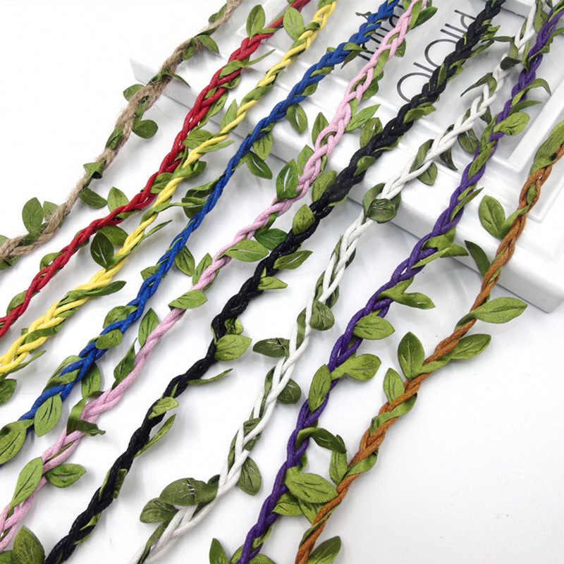 10 m Verde Foglie Decorato Corda Nastro di Pizzo Passamanerie Stringa di Imballaggio D'epoca in Stile Rustico Festa di Nozze A Casa Tessuto Tessuti Decorativi