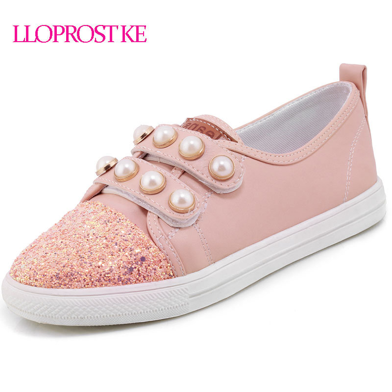 LLOPROST KE Spring Women Flats Casual Shoes Round Toe Black White Pink Shoes Flat Heel Soft Bottom Shoes Plus Size 29-46 MY145 2017 womens spring shoes casual flock pointed toe narrow band string bead ballet flats flat shoes cover heel women flats shoes