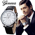Casual Men Women Unisex Geneva Watch Retro Design Black&Brown Color Hour Time Leather Strap Quartz Watches Relojes Bulk Price