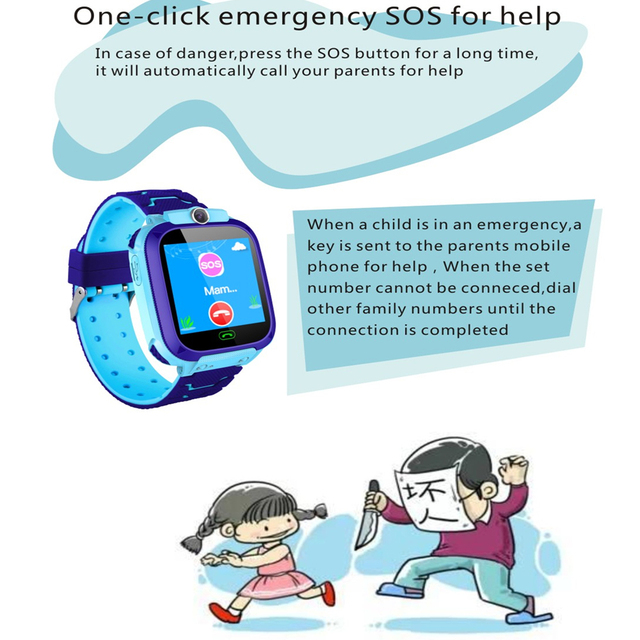 Waterproof Kids Smart Watch SOS Antil-lost Smartwatch Baby 2G SIM Card Clock Call Location Tracker Smartwatch PK Q50 Q90 Q528.
