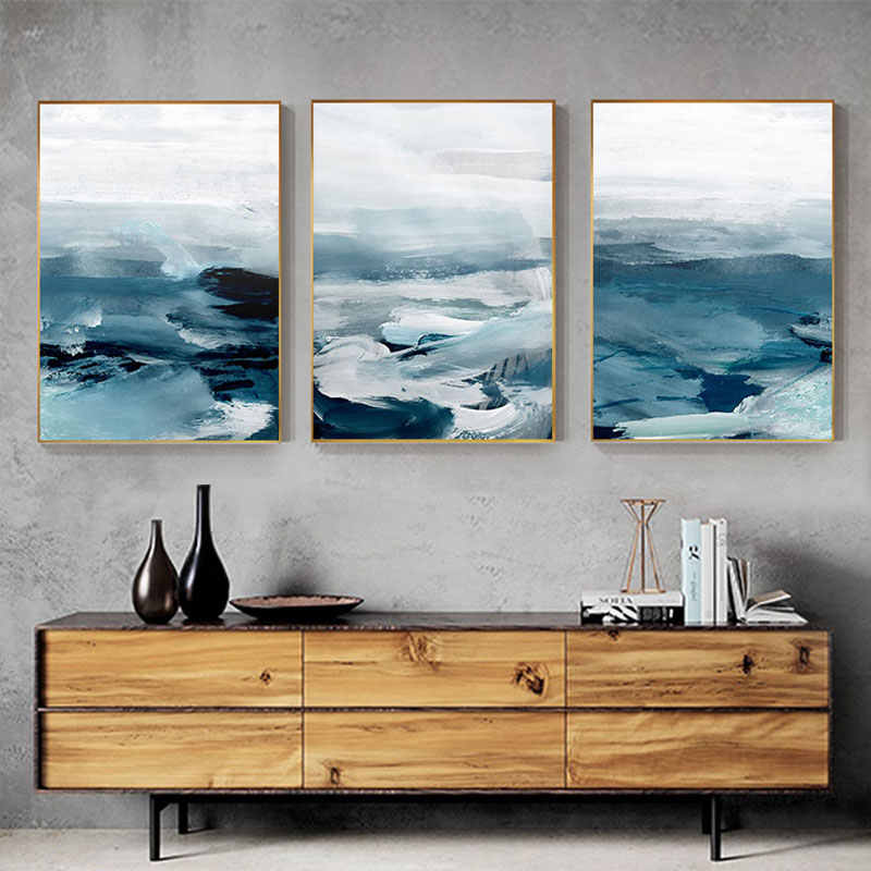 Abstract Amazing Blue Sea Clouds Canvas Painting Modern Nordic Poster and Print Art Wall Picture for Living Room Bedroom Fashion