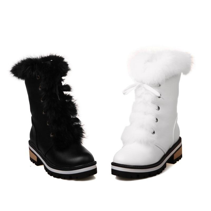 Size up Metà Caldo Punta A Invernali Stivali Quadrato Scarpe Stile 34 Moda 43 Lace Neve Big Donne Rotonda Dolce White black Polpaccio Tacco fdqgZZw