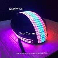 EC87 DJ робот светодио дный LED костюмы Красочный свет головные уборы маска для вечеринки взрыв светящиеся головы шт наряды танцор носит шоу