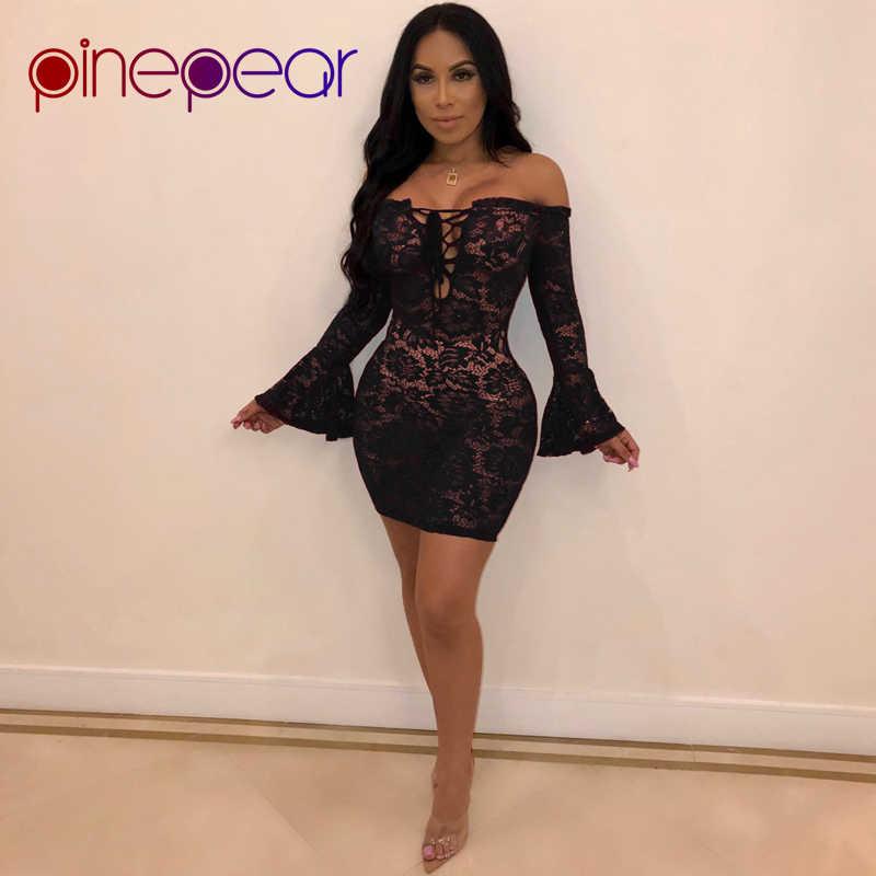 f245e58160cf PinePear See Through Sexy Club Lace Dress Women Flare Sleeve Slash Neck  Mini Dress Lace Up