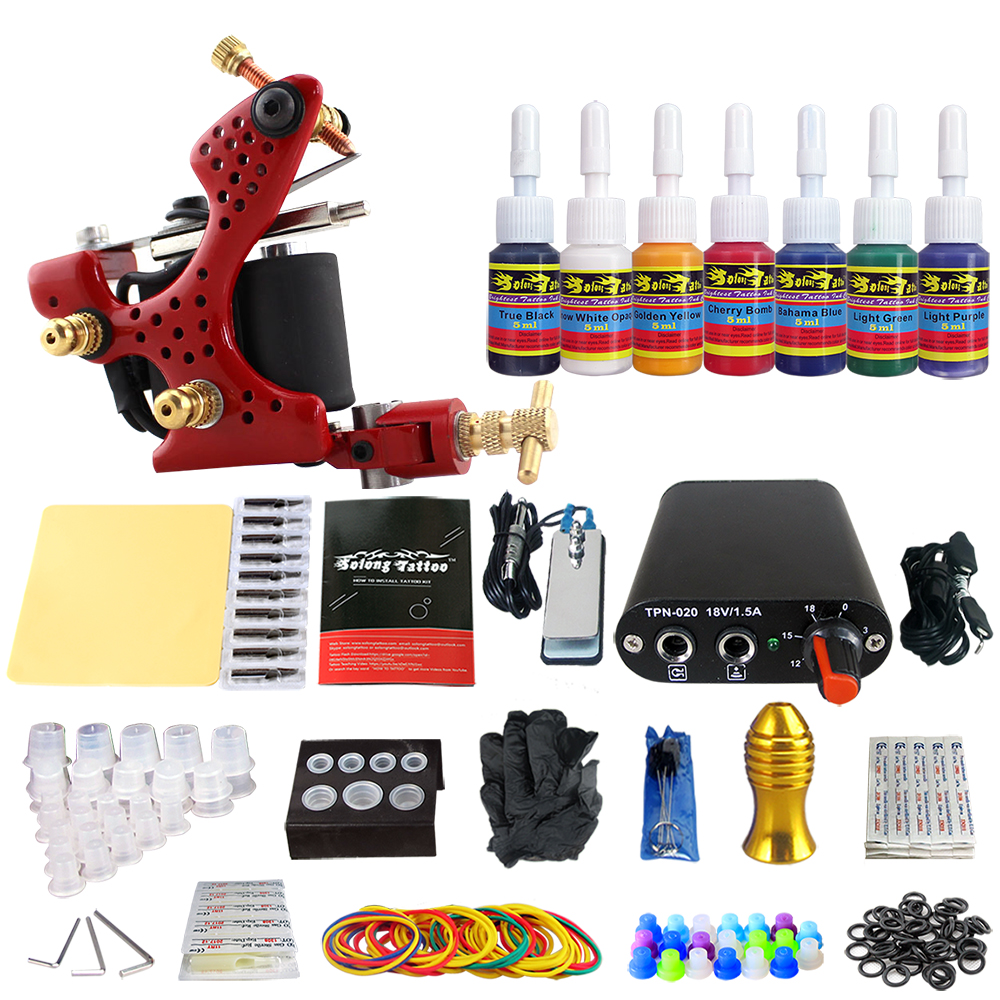 Tattoo New Beginner 1 Pro Machine Gun Tattoo Kit Power Supply Needle Grips tip 7 color ink set TK105-55 new tattoo machines gun equipment power supply 20 color ink cup tattoo set brand new