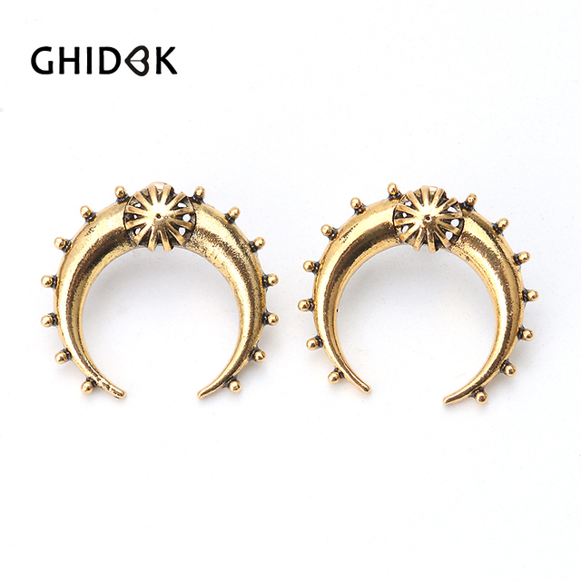 GHIDBKN Vintage Crescent Moon Big Stud Earrings for Women Tribal Antique  Gold Brass Moon Stud Earrings Statement Jewelry Gifts