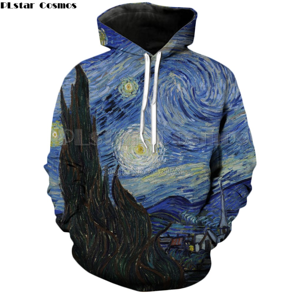 PLstar Cosmos Drop frakt 2018 höst Nya mode män / kvinnor 3d Hoodies starry night Tryck Casual Hooded Sweatshirt