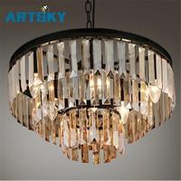 Vintage French Glass Crystal Chandelier Light Fixture Black Cottage American White Suspension Lamp Hanging Light For