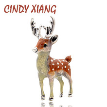 CINDY XIANG 3 Colors Available Cute Small Deer Brooches for Women Bucks Sika Animal Brooch Pin Coat Accessories Kids Gift
