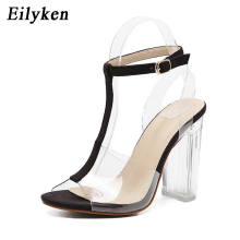 Eilyken Classics Nude PVC Clear Strap Women Party Sandals High Heels 11 cm Custom Stilettos Women's Summer Transparent Shoes