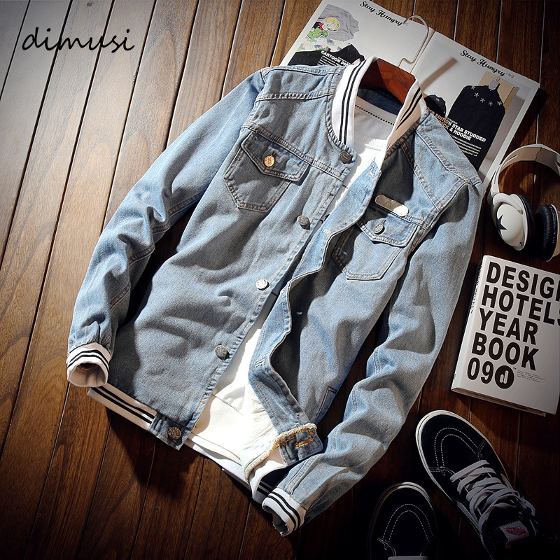 DIMUSI Spring Autumn Mens Denim Jacket Fashion Men Trendy Ripped Denim Coats Bomber Jackets Male Cowboy Baseball Jean Jackets