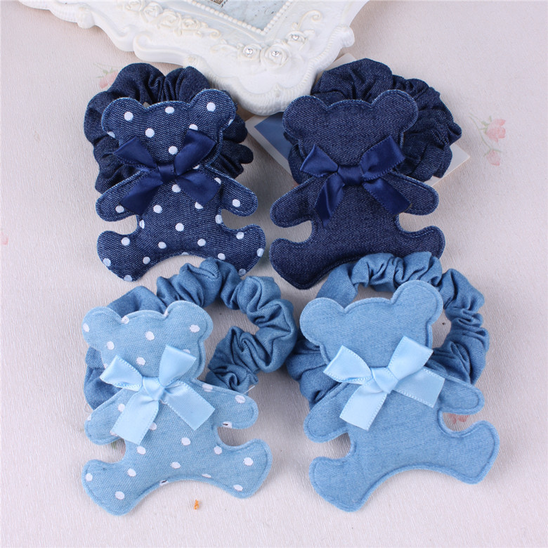 Children hair accessories children hair band denim bear ring circle students hair rope bow tie ring denim jeans
