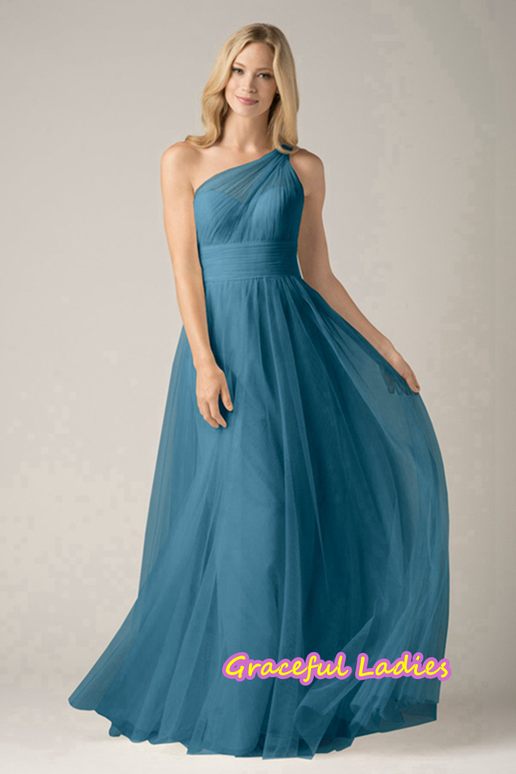 Ink Blue Tulle Cheap One Shoulder Bridesmaid Dresses Long Party Plus ...