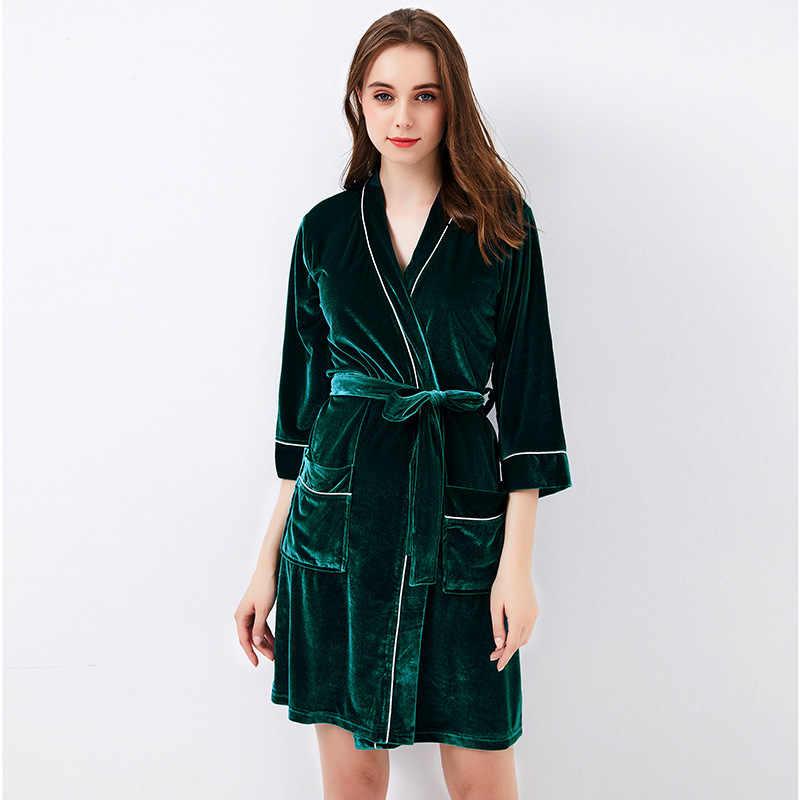 90b04b3472 New Autumn Green Female Velour Bath Robe Women Sexy Nightgown Loungewear  Soft Home Dress Plus Size