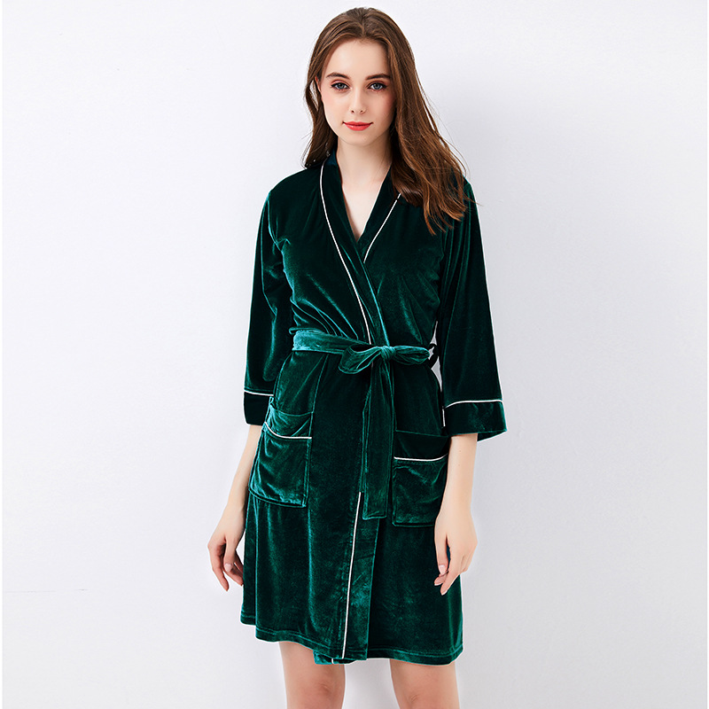 New Autumn Green Female Velour Bath Robe Women Sexy Nightgown Loungewear Soft Home Dress Plus Size Velvet Kimono Kaftan S014-F