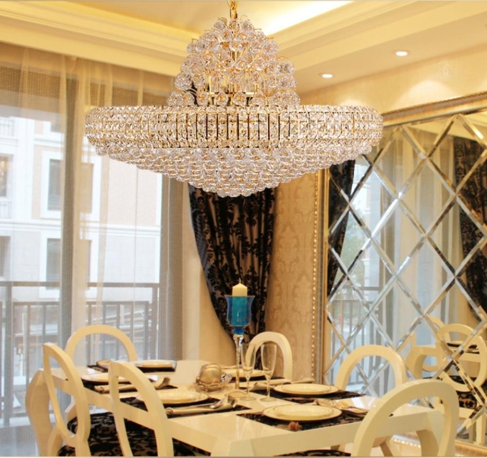 LED Moderne Gouden K9 Kristallen Kroonluchter Grote Ronde Gouden - Binnenverlichting - Foto 4